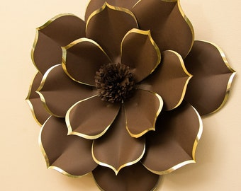 Paper Flower of Exclusive Design - Luxury Flower Wall - Chocolate Brown Large Flower with Gold Trim - Alternative Giant FlowerAlternative
