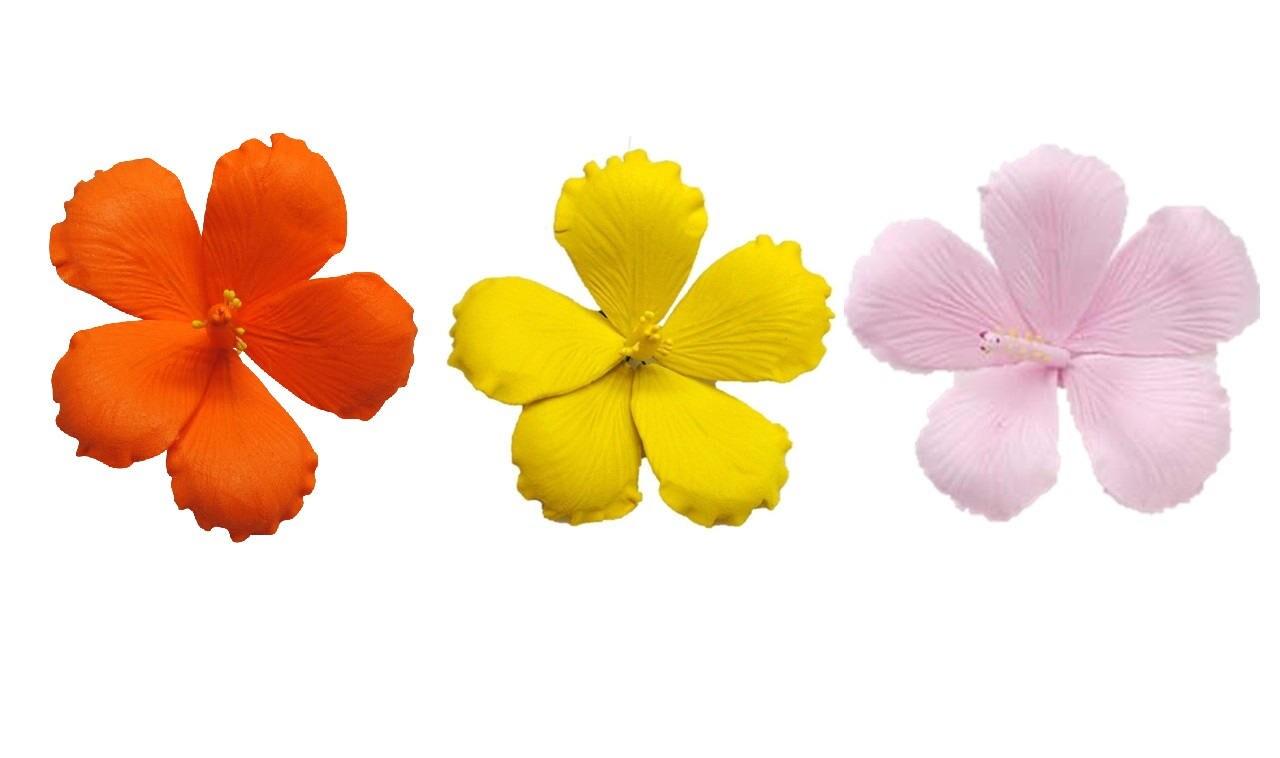35 gumpaste hibiscus orange yellow pale pink flower zoom izmirmasajfo