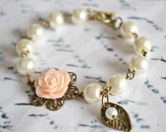 Flower Girl Gift, Pearl Bracelet, Bridesmaids Bracelet, Childrens Gift, Wedding Accessories, Birthday Gifts, Baptism Gift, Peach Flower Gift