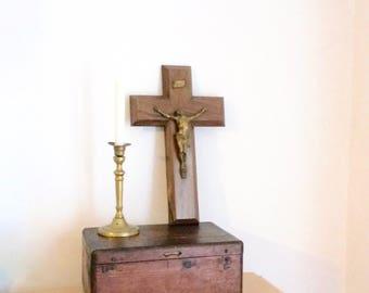 Large Crucifix, Heavy Wooden Cross, Bronze Jesus, Religious Relics, Religious Wall Decor,  Vintage, circa 1930s