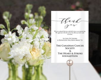Wedding In Lieu Of Favors sign template, small printable card for your wedding tables in 2 useful sizes, wedding favor donation sign