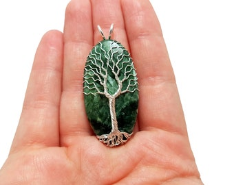 FREE SHIPPING Wire wrap tree of life pendant with genuine seraphinite gemstone