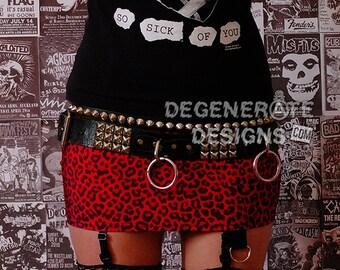 Red Leopard Cheetah PUNK Skirt Animal Print Punk Rock Clothing Heavy Metal Mini Skirt 80s Rocker Glam Rock Hair Metal Street Punk XS - XXL