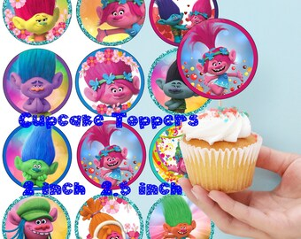 Trolls Inspired Cupcake Toppers Trolls Toppers 2 INCH 2,5 Inch Trolls Party Decor Trolls Birthday party Trolls Cupcake Toppers Trolls Party