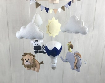 Baby mobile - jungle mobile - elephant, zebra, lion, giraffe mobile - jungle nursery decor - safari mobile - hot air balloon mobile - sun