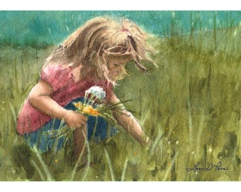 Picking Wildflowers Watercolor, Print of Original Artwork by Laura D. Poss, Little Girl with Flowers in a field, Landscape