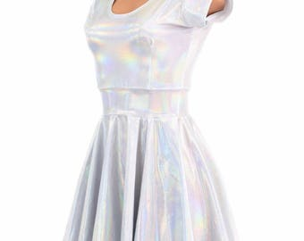 Flashbulb Holographic White Scoop Neck Cap Sleeve Fit and Flare Skater Skate Dress Rave Clubwear EDM -E7720