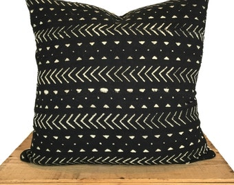 """Authentic African Mud Cloth Pillow Black and White Elliott Mudcloth Pillow Cover Boho Throw Pillow 20"""""""