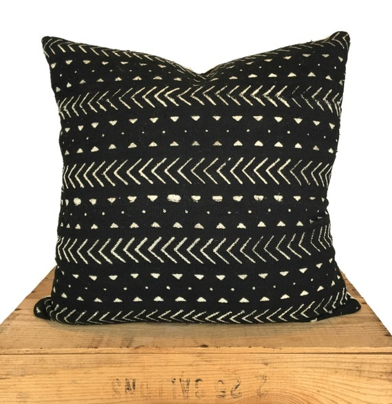 Authentic African Mud Cloth Pillow Black And White Elliott