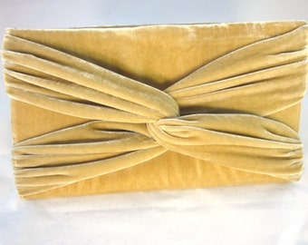 Tan Velvet Clutch Purse with Twist Detail