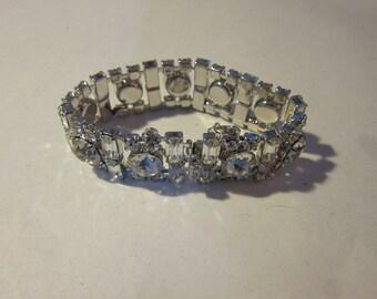 Gogeous 1960s Hattie Carnegie Silver and Rhinestone Bracelet