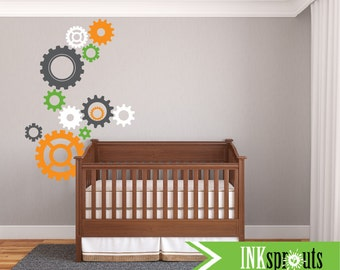 Extra large Gear Decal, Gears, Mechanical Decal, Robot Decal, Transportation decal, Space, Modern Nursery, Nursery decals, Boys room,Pattern