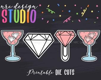 SALE Planner Die Cuts, Cocktail Die Cut, Diamond Die Cut, Scrapbook Die Cut, Planner Accessories