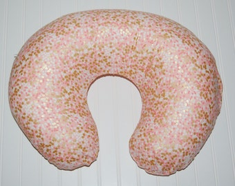 shimmer nursing pillow cover- pink nursing pillow cover- gold baby bedding- made to order