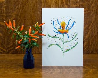 Celebration greeting card, confetti, blank, birthday, congratulations, flower, graduation, anniversary, whimsical,botanical,handmade card