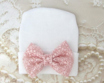 White Newborn Hospital Hat with pink embroidered lace bow, double ply, hospital hat, newborn baby hat, bebe, Lil Miss Sweet Pea Boutique