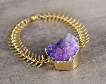 Purple Statement Bracelet - Purple Druzy Bracelet - Chunky Stone Bracelet - Purple and Gold Jewelry - UK Jewellery