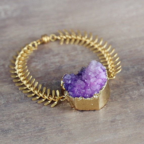 Purple Statement Bracelet - Purple Druzy Bracelet