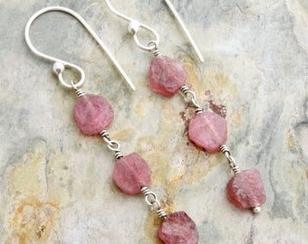 Natural Pink Tourmaline Earrings - Pink Gemstone Earrings - Raw Stone Earrings - Raw Tourmaline - Sterling Silver - Stone Slices  #4839