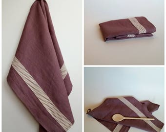 Linen Kitchen Towel – Rosy Brown with Laces, Dish Towel, Tea Towel