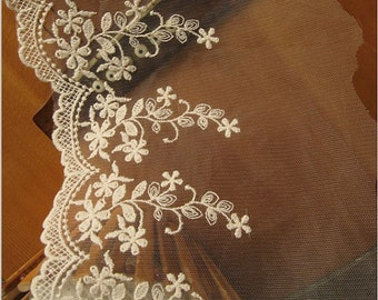 ivory Lace Trim, vintage Bridal Lace, Embroidered floral lace, scollaped lace trim, wedding veil lace trim