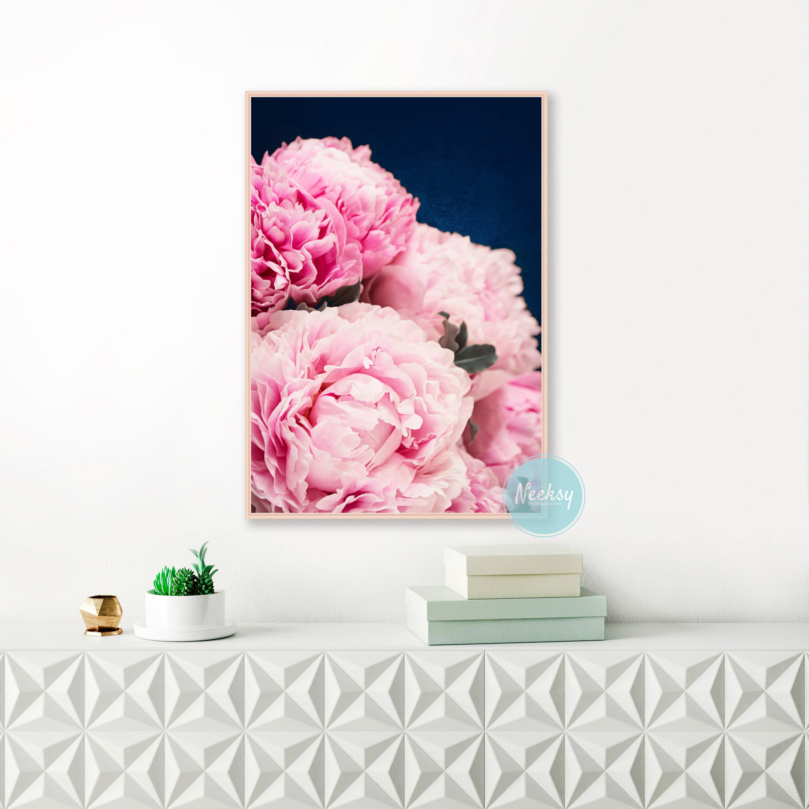 Peony Print Peonies Art Print Pink And Navy Wall Art Original