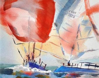 Sailboats Racing original painting or reproduction