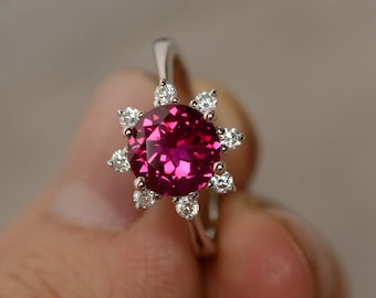 Lab Created Ruby Round Cut Engagement Ring Silver July Birthstone Ring