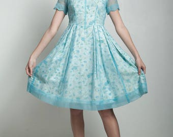 vintage 50s sheer blue overlay dress floral scalloped sleeve basque waistline SMALL S