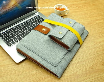 Felt 12 inch Macbook sleeve, New Macbook 12 case, Macbook 12 sleeve, macbook sleeve, macbook air case, laptop sleeve, laptop case-TFL114
