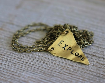 Brass Explore Pennant Handcut handstamped Charm Necklace for Her Bridesmaids Best Friends Sisters