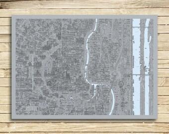 VIENNA design map poster, art print - 'industrial'