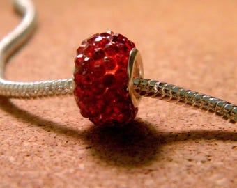 bead charms European 65 red rhinestones - 14 x 9 mm-CHA-C-20-2