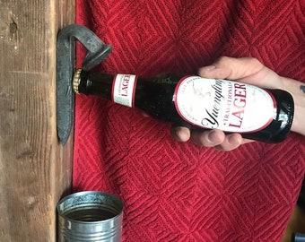Railroad spike wall mount bottle opener