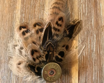 Feather pin, brooch, hat pin, pheasant feather corsage