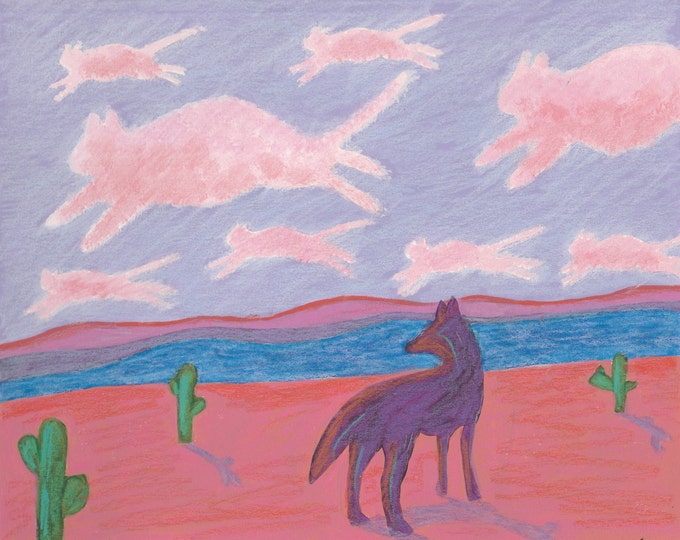 Coyote's Daydream blank greeting card