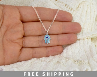 Fatima Hand Necklace - Tiny Silver Hamsa hand necklace - Hamsa Hand Necklace - Turquoise Necklace - Hamsa Necklace - Tiny Hamsa Hand