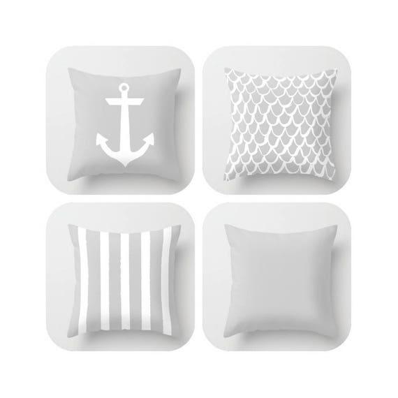 OUTDOOR Throw Pillow . Silver Gray Mermaid Pillow . Coastal Patio Cushion . Anchor Pillow . Stripe Pillow . 16 18 20 inch . Rectangle Lumbar