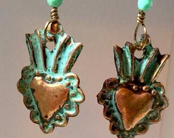Very small Copper Milagro Hearts, Corazons, Frida Khalo, Sacred Heart Earrings, Flaming Hearts, Valentines, 2 broke girls,