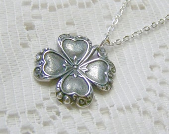 Silver CLOVER Necklace, Irish jewelry, four leaf clover, LUCKY SHAMROCK pendant, Silver-plated clover pendant