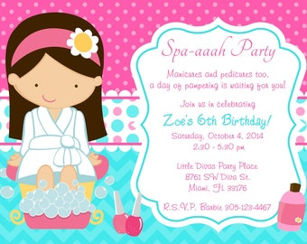 Spa Party Invitation Spa Birthday Party invitation invite chevron Spa Day Pamper Party Sleepover Printable CHOOSE YOUR GIRL