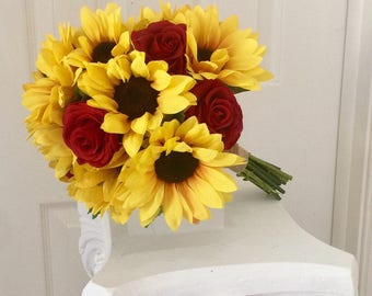 Sunflower Bridal Bouquet, Sunflower And Rose Bouquet, RedRose Bouquet, Sunflower Bouquet, Sunflower And Real Touch Rose Bouquet, Red Rose Bo