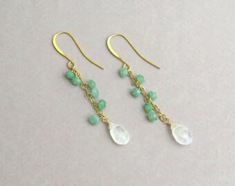 Moonstone drop earrings, Chrysoprase earrings, Cluster earrings