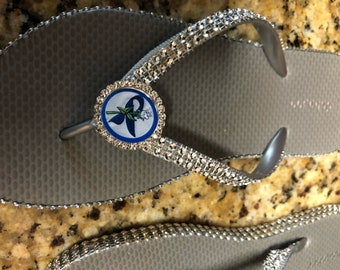 Blue ribbon flip flops, child abuse awareness, drunk driving awareness,colon cancer, or osteogenesis flip flops
