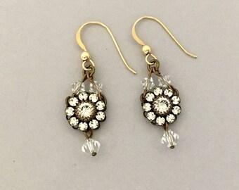 Minimalist Earrings, Lightweight Rhinestone Earrings for Women, Dangle Earrings, Everyday Earrings, Drop Earrings, Flower Jewelry Gift