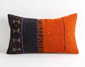 80 yrs old kilim pillows cover 12x20 inches natural dyes orange navy dark blue black eclectic bohemian home decor