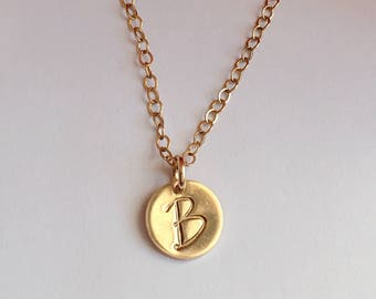 Initial Necklace. Gold Disc Necklace.
