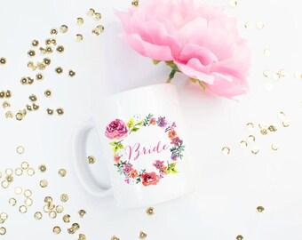 Floral Wreath Bride  Coffee Mug - Coffee Cup - Large Coffee Mug - Statement Mug - Sassy Mug - Large Mug - Funny Mug - Statement Mugs