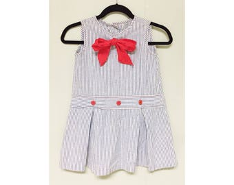 Vtg 1960s chambray and white striped nautical dress with red bow
