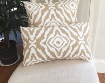 Scalamandre Zanzibar Ikat Sand decorative pillow cover, Ikat pillow, designer pillow, accent pillow, Scalamandre pillow